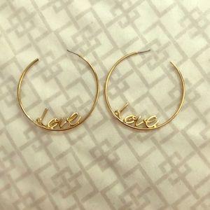 Gold love hoop earrings